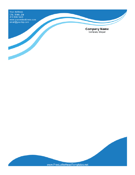 Business Letterhead with Blue Waves Letterhead Template dehcpGB6