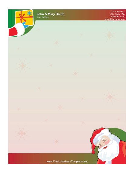 santa claus and gift letterhead. Black Bedroom Furniture Sets. Home Design Ideas