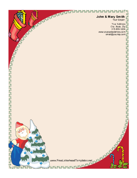 Santa claus and christmas tree letterhead for Free christmas stationery templates