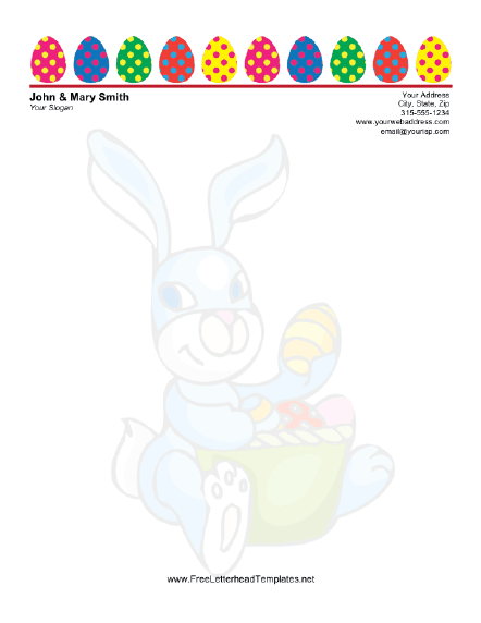 Easter Letterhead with Colorful Easter Eggs Letterhead Template
